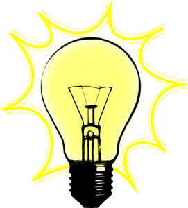 Clip art of an old fashioned light bulb with a yellow border suggesting an idea has been sparked