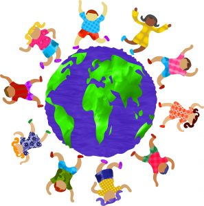 Image of the Earth with children of all races dances around it