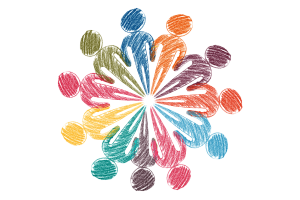 Sketch of individuals in multi-color creating a unified circle