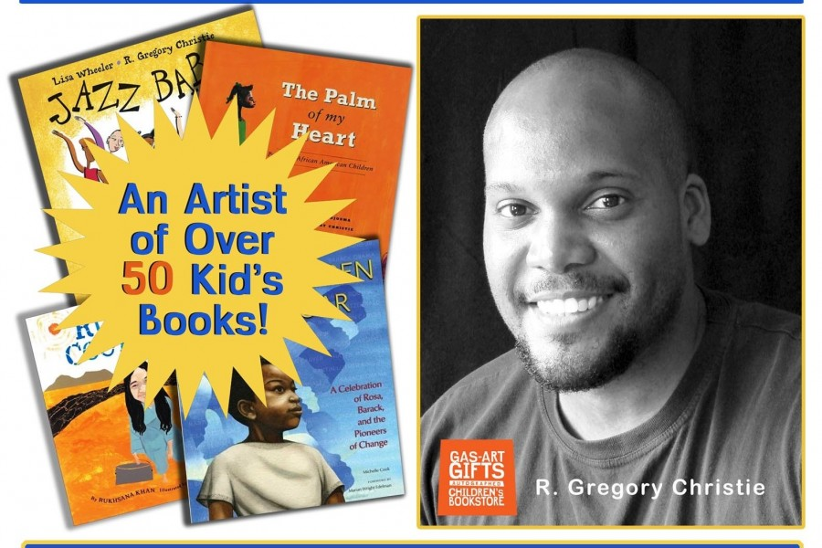 "R. Gregory Christie has illustrated more than 50 children's books and not only works as an illustrator, but owns Gas Art Gifts, an autographed children's bookstore and art school in Decatur, Georgia. He is a two time recipient of the New York Times 10 Best Illustrated Children's Books of the year Award, the Boston Globe's Horn Book Award, the NAACP's Image Award, Once Upon a World Children's Book Award from the Museum of Tolerance, and a three time winner of the Coretta Scott King Honor Award for illustration. His artwork has been featured on both HBO kids and PBS Between the Lions. In addition to his illustrations for children's books, he is the designer of the United States Post Office's 2013 ""Kwanzaa Forever"" stamp, and the artist for the New Orleans Congo Square 2013 Jazz fest poster. He was also a featured artist on New York City's subway cars for all of 2012, and he has also worked with The New Yorker, Rolling Stone, Vibe, The Wall Street Journal, The New York Times, The Kennedy Center, Pete Seeger, Queen Latifah, and Karyn Parsons on a variety of projects. Illustrators' Intensive Assignment:  For the Illustrators' Intensive, Illustrators should bring the media that best suits their style and comfort level, water based paints and illustration board are preferred. We will have tables set up, but if you want to bring an easel, that would be fine. Greg recommends reading is ""The Art of Perspective: The Ultimate Guide for Artists in Every Medium"" Phil Metzger, and Elizabeth Dulemba's and Katie Davis' blogs to get a sense of social media as tool for promotion.   Prior to the intensive, illustrators should create a character in it's space. (Anything that moves through magic, science or biology but it needs to be connected to it's environment). As you create this image, keep in mind that you are painting this for adults as well as children, so it needs a balance of sophistication and marketing appeal to make the viewer want to care. Visit Gregorie at Gas-art.com and follow him @gasartgifts"
